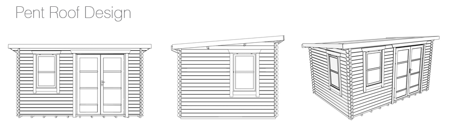 A Pent Roof Log Cabin