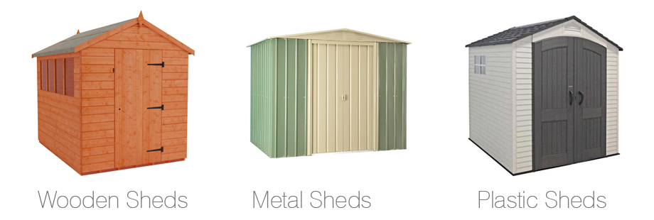 An image showing wooden, metal and plastic apex sheds.
