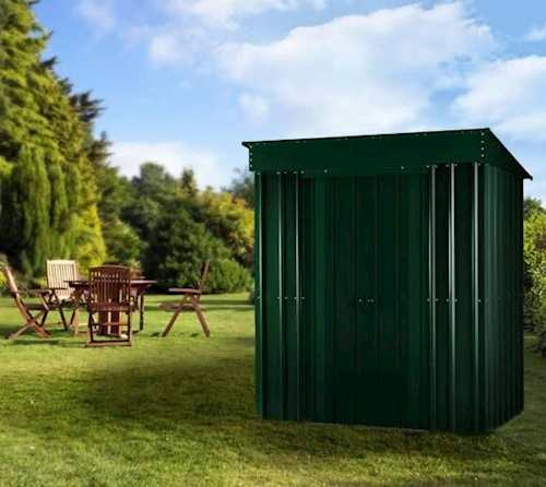 Lotus Metal Pent Shed in Heritage Green