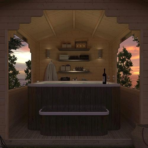 The Sumatran Shelter   44mm Log Cabin (for BBQs, Hot Tubs or Cars)