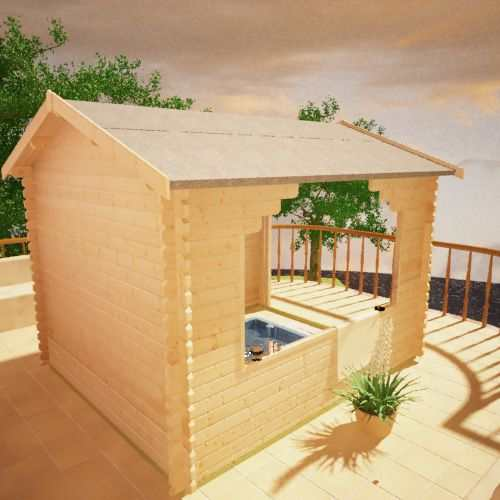 The Sumatran Shelter | 44mm Log Cabin (for BBQs, Hot Tubs or Cars)
