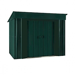 Lotus Metal Low Pent Shed in Heritage Green