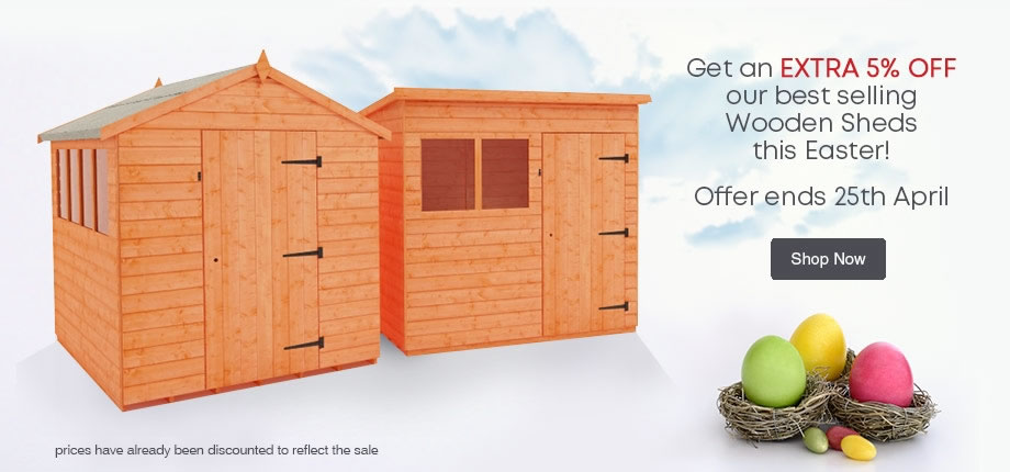 5 off 5 - 5% Off our Top 5 Wooden Sheds. Ends 25th April