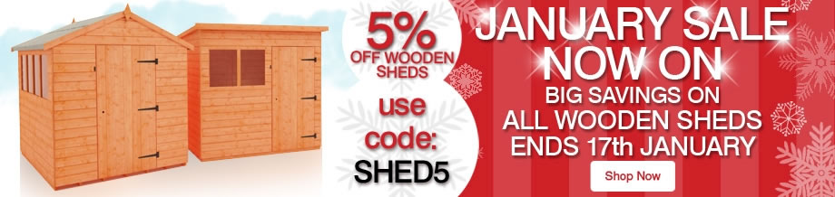 5% Off ALL Wooden Sheds - Ends 17th January