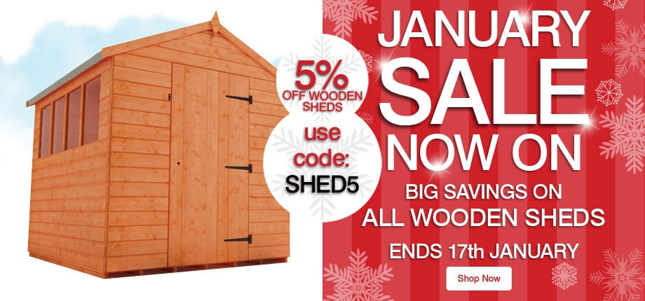 5% Off Wooden Sheds - Ends 17th January