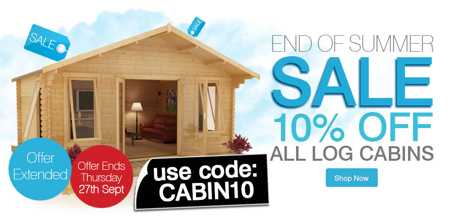 10% Off All Log Cabins - Ends Thursday 27th September