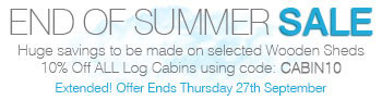 End of Summer Sale - Ends Thursday 27th September