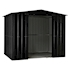 Lotus Metal Apex Shed Anthracite Grey size 5x8 Doors open