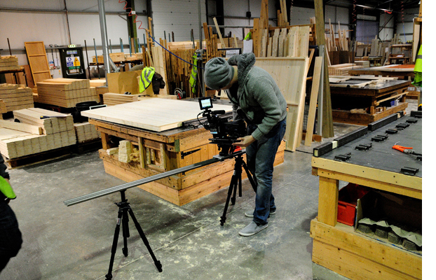 filming in the Tiger Shed's Warehouse